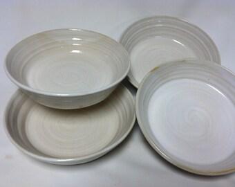 handmade pasta bowls, serving bowls, salad bowls,  white bowls, stoneware, soup bowls, noodle bowls, cottage chic, minimalist, modern
