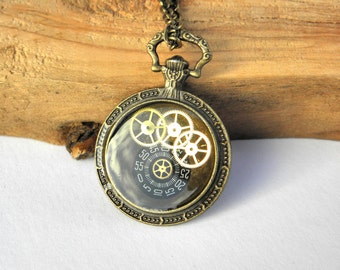 steampunk round camee necklace, resin, brass