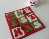 MUG RUG PATTERN  Christmas  Mug Rug Pattern  (Instant Digital Download)