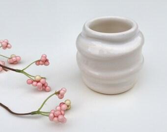White Ripples Bud Vase - Modern Pottery Home Decor white bud vase