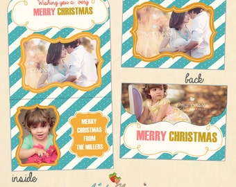 INSTANT DOWNLOAD - 5x7 Christmas Folded Luxe Card Template - CA301