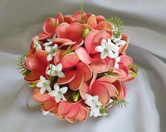 Frangipani Plumeria Bouquet Posy Real Touch Destination Wedding