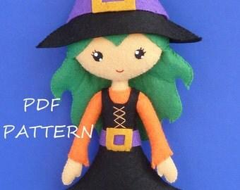 PDF sewing pattern to make felt Witch