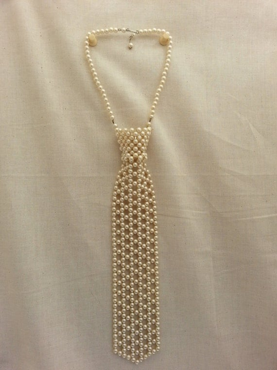 Beaded Choker Necktie Necklace Vintage Faux Pearl By