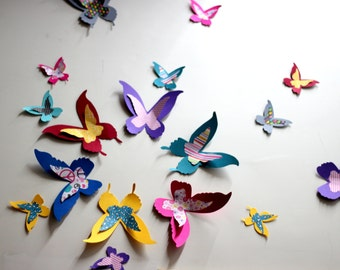 Paper Butterflies - Multicolored - Wall decor - 3d wall art - Butterfly wall art - Butterfly wall decor - 3d wall decor - Home decor
