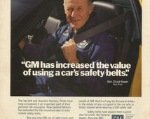 General Chuck Yeager / GM Safety Belt Original 1986 Vintage Print Ad Color Photo Test Pilot; Car Seat, Lap, Life Belt and Shoulder Harness