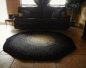 Black and White Ombre Gradient Crochet Round Rug, Geometric Rug, Faded Rug, Large Area Rug floor mat carpet, nursery rug, living room rug