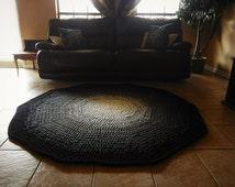 Black and White Ombre Gradient Crochet Round Rug, Geometric Rug, Faded Rug, Large Area Rug floor mat carpet, nursery rug, living room rug