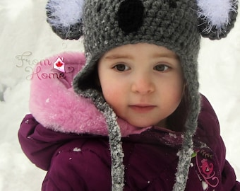 Koala Bear Earflap Hat (Made to Order in Sizes Newborn to Large Adult)