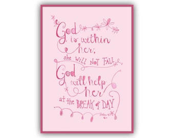 God Is Within Her Print Psalm 465 Girls Bible Verse Art 5x7