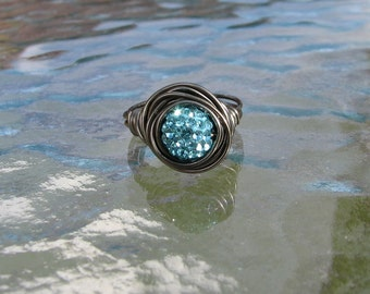 Gunmetal Light Blue Pave Crystal Bead wire wrapped ring