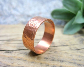 Copper Ring Men's Wedding Band - Hammered Texture