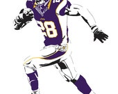 Adrian Peterson Art Print - Multiple Sizes Available - Minnesota Vikings Running Back - Perfect Gift for Vikings Fans, Dads, Boyfriends, etc