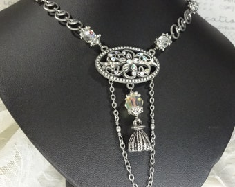 Pewter and Crystal Victorian Necklace Pewter Tassel