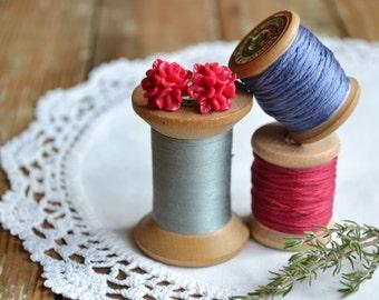 Raspberry Red Flower Earrings on Surgical Steel Posts | Stud Earrings | Red Earrings | Little Wren | SALE