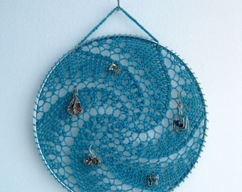 Earring Holder - Teal Green Blue / Jewelry Organizer / Jewelry Display / Suncatcher / Dreamcatcher