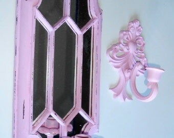 Two Distressed, Vintage, Shabby Chic, Pink, Handpainted, Wall Candle Holders, Sconces