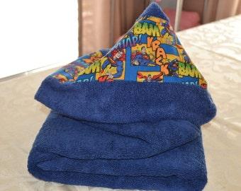 Superman Blue Comic Print Toddler Hooded Bath Towel