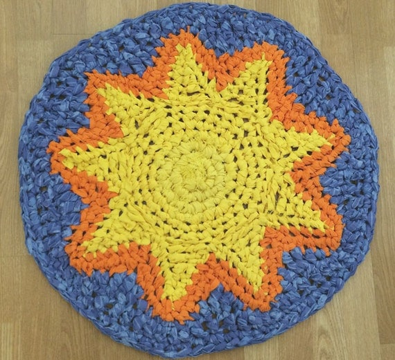 Orange Rug For Nursery: Bright Sun Rug In Yellow Orange And Blue Celestial Round