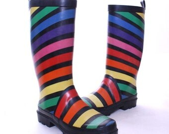 80s Esprit rubber rainbow galoshes - size 7 M