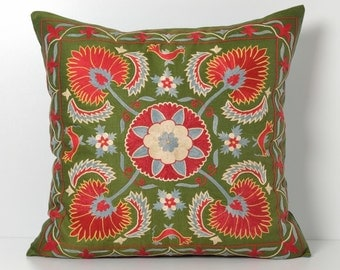 Silk Suzani Pillow Cover - 20x20 Green Red Hand Embroidered Vintage Pillow - Decorative Pillows For Couch - Throw Pillow - Accent Pillow