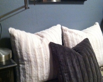 any size faux fur pillow covers in antique white natural
