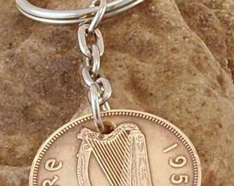 1953 1/2d Half Penny Leath Phingin Irish Coin Keyring Key Chain Fob 64th Birthday