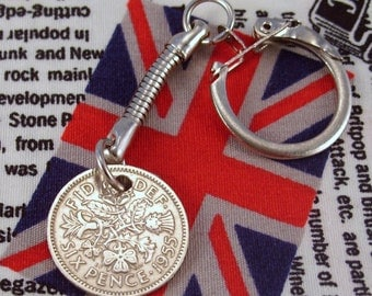Lucky 1955 6d Sixpence English Coin Keyring Key Chain Fob Queen Elizabeth II