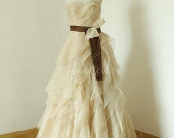 Champange Elegant ruched  a line flowy organza wedding dress, Ruffled wedding dresses, Bridal dress, Bridal gowns with brown sash