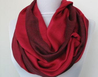 Heathered Red Scarf - Casual stripes - Infinity Scarf - Loop Scarf - Circle Scarf - Scarf Necklace - Dainty Soft Scarf  -620