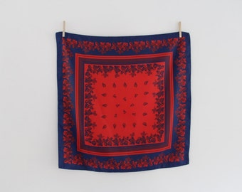 Vintage Navy and Red Floral Scarf