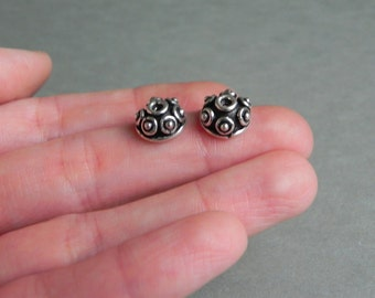 polka dot bead caps, 2 base metal bead caps