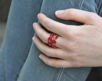 Red eternity ring, Eternity band, Soft ring, Leather jewelry, Red leather ring, Gift under 15, Glam gift for her, Ecofriendly jewellery