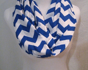 LONG Royal Blue Chevron Infinity Scarf - Jersey Knit - handmade in the USA