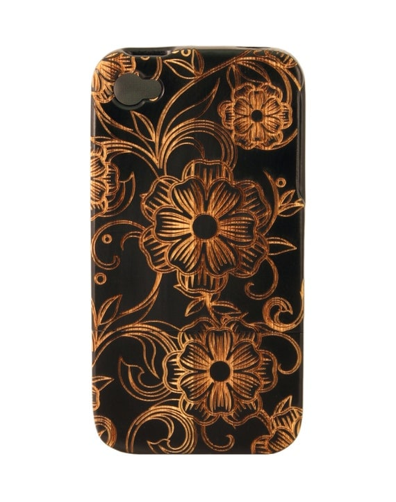 Charred Bamboo iPhone 4/5 case - Flower and Vine design