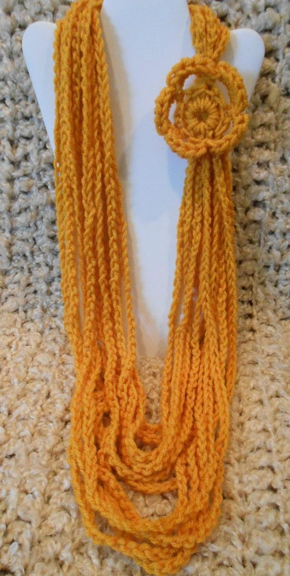 color mustard scarf necklace yellow crochet multichain