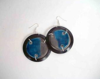 earrings ceramic raku and vinyl - dark blue records - europeanstreetteam