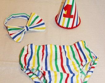 baby boy/toddler cake smash outfit, boys birthday outfit, circus stripes cake smash boys birthday,boys first birthday outfit, clown outfit