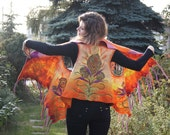 RESERVED for Gail! Unique felted vest, bright orange wool vest with fancy fringe. OOAK