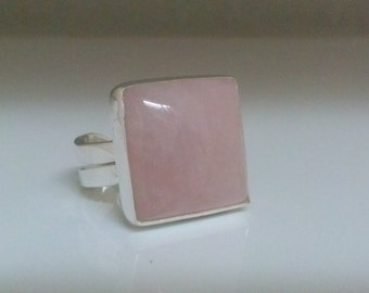 Square Rose Quartz Silver Ring Pink Gemstone Statement Ring. Cocktail, fashion Jewelry