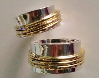 Wedding Spinner Rings, Handmade with Sterling Silver and solid Gold 18 K used as Meditation ring or relieving  Stress. Handcrafted Jewelry
