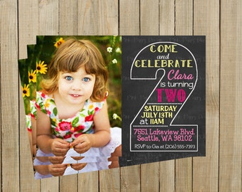 Vintage Chalkboard Two Second Birthday Invitation, Pink and Yellow, Printable, Custom Digital File