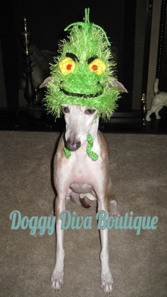 Dog hat grinch hat christmas hat photo prop costume for small to