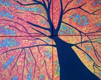 Abstract Fall Tree Painting on Canvas