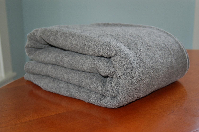 Wool Army Blanket Heavy Grey Wool Blanket Military Blanket