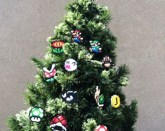 Classic Super Mario Bors. Perler Sprites - Star Tree Topper and Characters/Items Ornaments