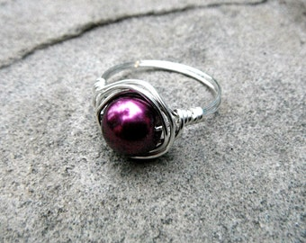 Purple Pearl Ring, Wire Wrapped Ring, Purple Ring, Pearl Wire Wrapped Ring, Wire Wrapped Jewelry Handmade, Purple Bead Ring