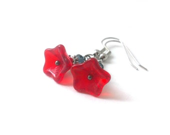 Czech Glass Flower Earrings, Flower Dangle Earrings, Red Flower Earrings, Flower Jewelry - Available as Hypoallergenic and Clip-on Earrings