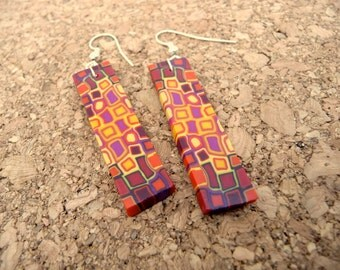 Geometric Dangle Earrings, Red Polymer Clay Earrings, Polymer Jewelry, Statement Jewelry, Fun Gift for Her