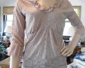Boho Blouse Beige Ruffle Size Large Lace baby doll shirt empire waist blouse bohemian indie hippie mori girl